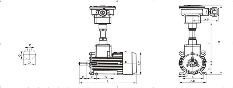 YBF2-100L1-4型号电机安装和尺寸与外形尺寸图3