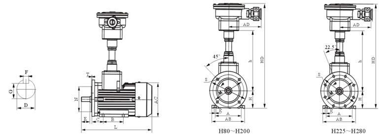 YBF2-100L1-4型号电机安装和尺寸与外形尺寸图6