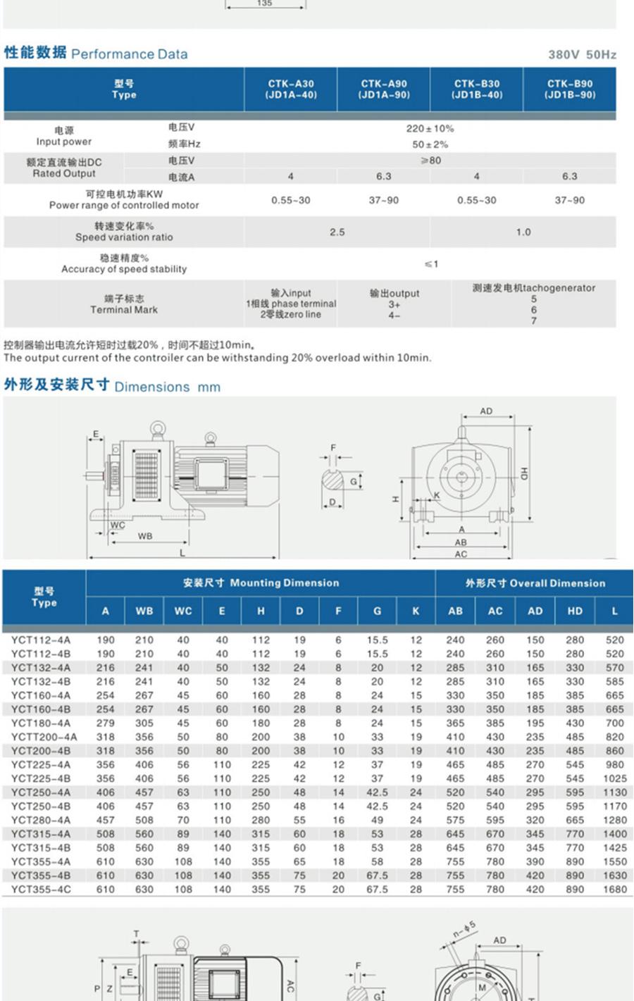 YCT-112-4A型号电机安装和尺寸与外形尺寸图4