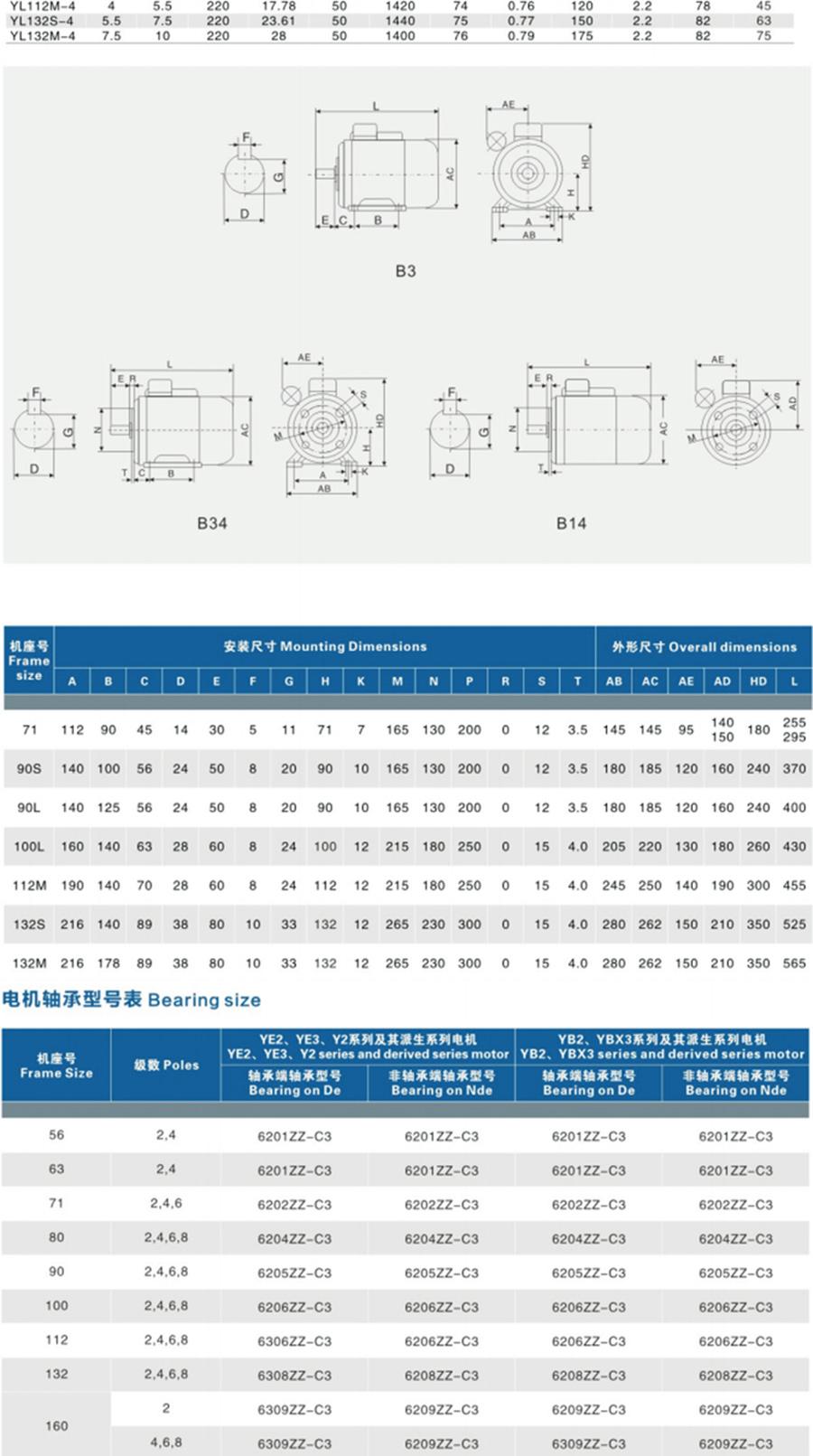 YL90S-4型号电机安装和尺寸与外形尺寸图2