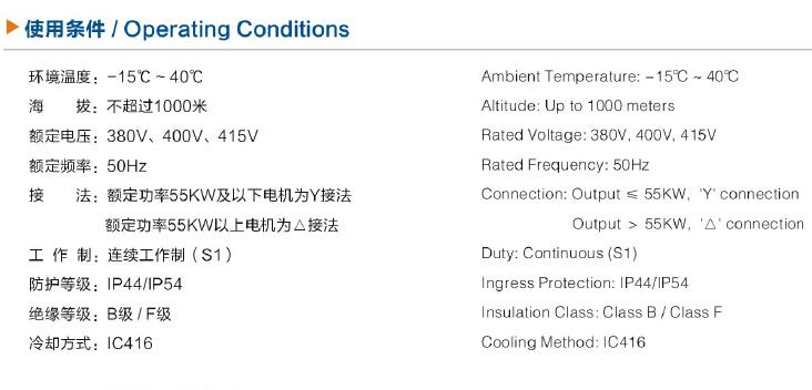YVF 90S-4电机技术特点/使用条件/代号说明图1